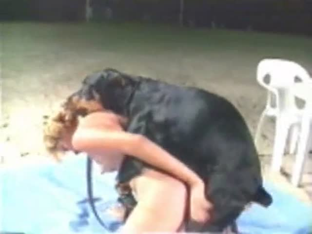 Rottweiler punches the big dick inside the blonde